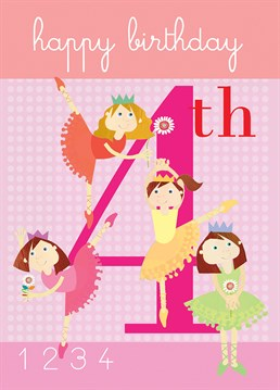 A cute card from Square Card Company for a little ballet star turning four.