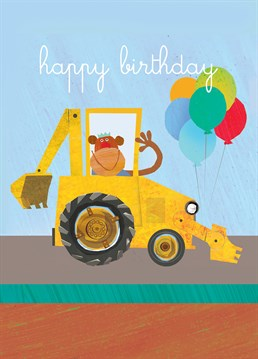 Nothing says happy birthday like a monkey in a backhoe loader. A cute Square Card Company card for the mini-industrialist.