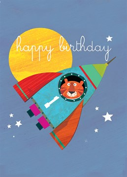 Forget Little Rocket Man, here's a tiger in a rocket exploring outer space - how cool is that? This Square Card Company card for a one-year-old is out of this world.