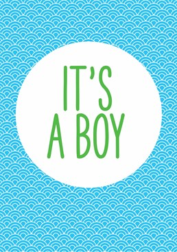 A card that does exactly what it says on the tin! Keep it simple with this design celebrating a new baby boy, by This Mama Does.