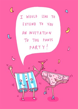 It's an official invite whether you're wearing boxers, briefs, knickers, or thongs, the party is on. Send this Whale And Bird card on any occasion.