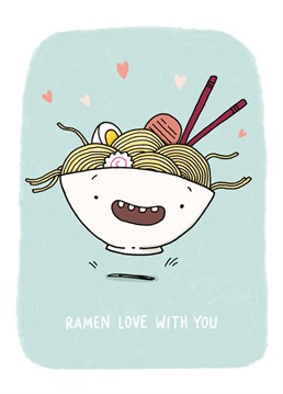Aw, bring out your inner ramen-tic with this deliciously punny design by Whale & Bird.