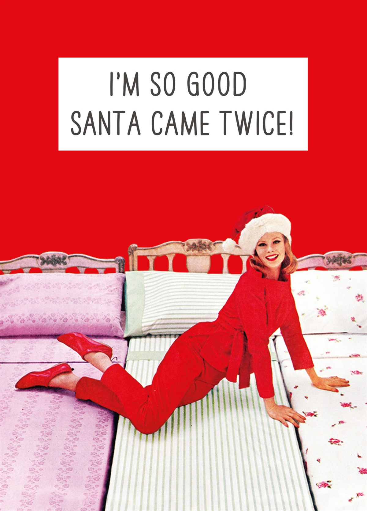 Funny Rude Santa Came Twice Personalised Christmas Card