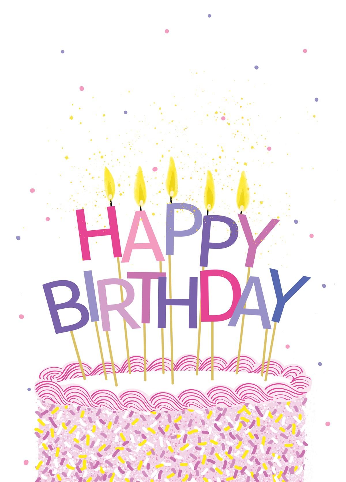 Super Happy Birthday Pink Cake Personalised Birthday Cards Paralily Jamesorg