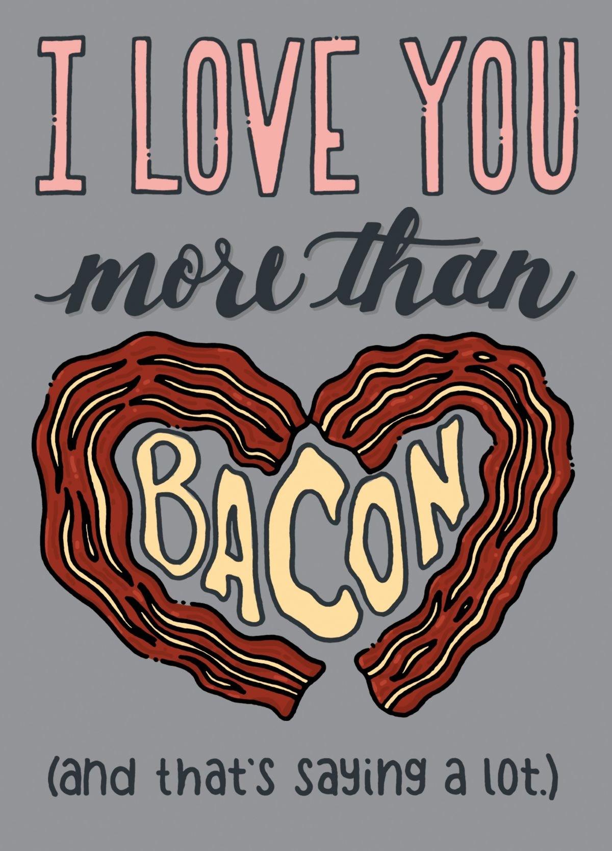 I Love you More Than Bacon Romantic Valentine Socks